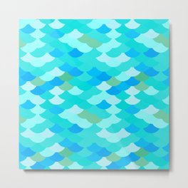 pattern scales, wave abstract simple Nature background mermaid Metal Print