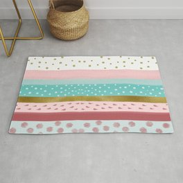 Stripes in Rose Mint  Rug