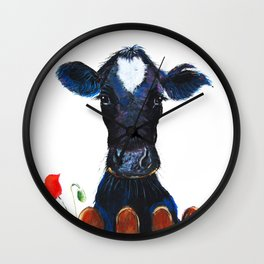 Nosey Cow ' WeLCoME ' by Shirley MacArthur Wall Clock
