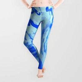 Blue Liquid Marble Leggings