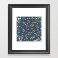 Elegant Guns, Knives and Roses on Blue Framed Art Print
