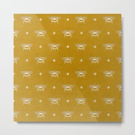 Bee Stamped Motif on Mustard Gold Metal Print