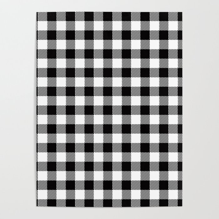 90's Buffalo Check Plaid in Black and White Poster