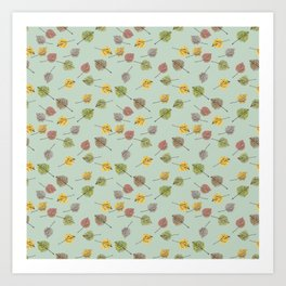 Colorado Aspen Tree Leaves Hand-painted Watercolors in Golden Autumn Shades Art Print