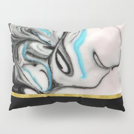 Black, Blue & White Marble with Gold Accent Pillow Sham