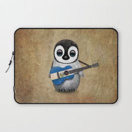 Baby Penguin Playing Salvadorian Flag Acoustic Guitar Laptop Sleeve