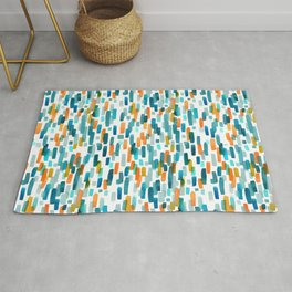 Coral and Teal Watercolor Abstract Rug