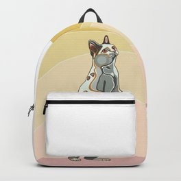 Cat bobtail. Stylized and colorful painting of cat. Backpack