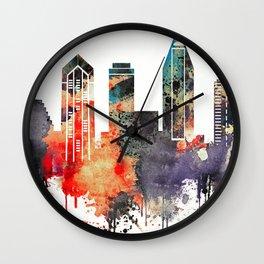 colorful watercolor San Diego skyline Wall Clock