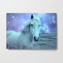 Blue Horse Celestial Dreams Metal Print