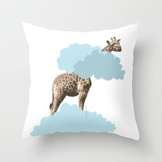 Giraff in the clouds . Joy in the clouds collection Throw Pillow