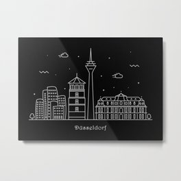 Dusseldorf Minimal Nightscape / Skyline Drawing Metal Print