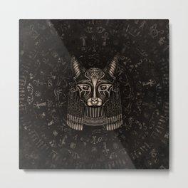 Bastet Egyptian Goddess - Sepia Metal Print