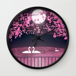 Swans and Cherry Blossoms Wall Clock