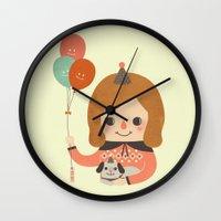 ballon Wall Clocks featuring Hold The Happy Ballon by Minifanfan