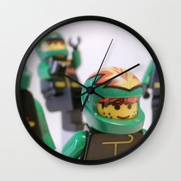 LEGO EXTREME MOTORCYCLE STUNT TEAM in Brick Font Logo Design [Alternate Colors] by Chillee Wilson Wall Clock