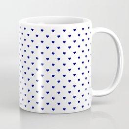 Mini Navy Blue Love Hearts On White Coffee Mug
