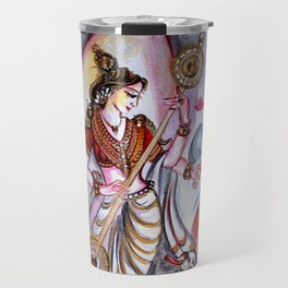Musical Goddess Saraswati - Healing Art Travel Mug
