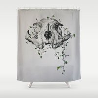 animal skull Shower Curtains featuring Animal Skull With Vines by Emilee's Fine Art