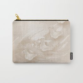 Fabulous butterflies and wattle with textured chevron pattern in subtle iced coffee Carry-All Pouch