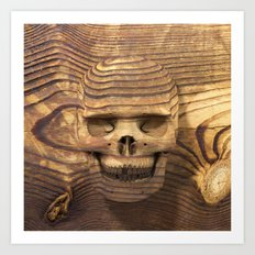 Wood Skull 01 Art Print