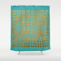 gold dots Shower Curtains featuring Gold Dots on Turquoise by Sandra Arduini