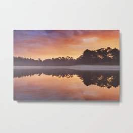 Reflections of sunrise at a quiet lake, Henschotermeer, The Netherlands Metal Print