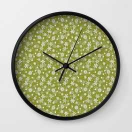Festive Pepper Stem Green and White Christmas Holiday Snowflakes Wall Clock
