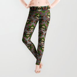 Sugar Skull and Roses - Day of the Dead Calavera Leggings