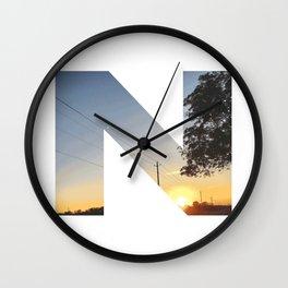 """N"" Initial Sunset Wall Clock"