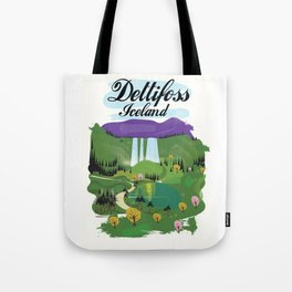 Dettifoss Icelandic holiday poster. Tote Bag
