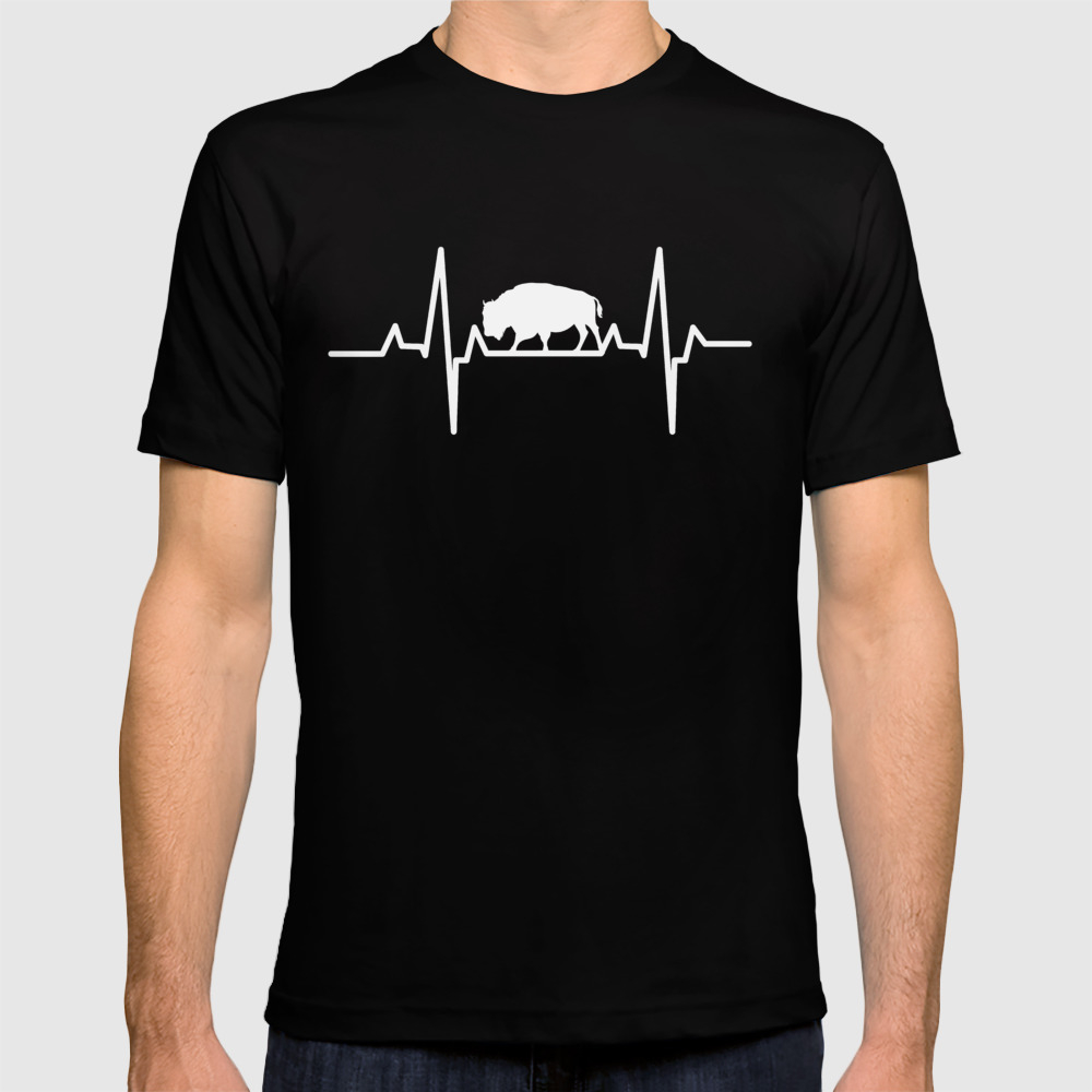 Bison Heartbeat American Buffalo Animal Heartbeat T-shirt by Teepsy TSR8820917