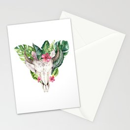 Tropical Skull Bouquet. Stationery Cards