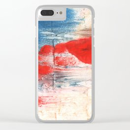 Red Blue watercolor Clear iPhone Case