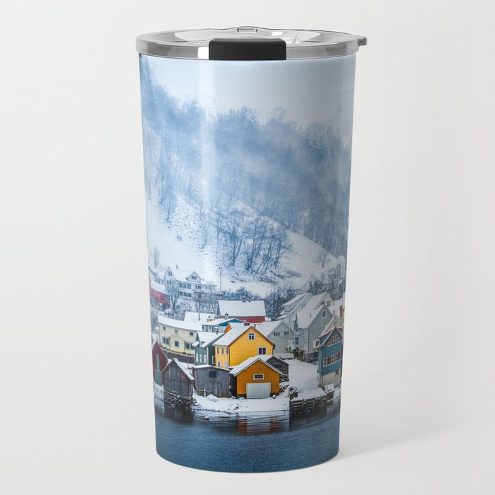 A Small Town in Norwegian Fjords Travel Mug