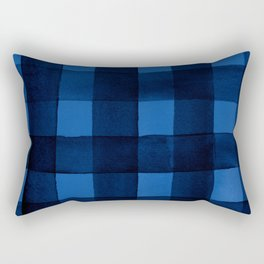 Buffalo Plaid Watercolor in Blue Rectangular Pillow