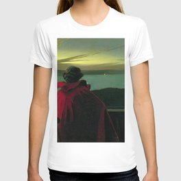 The Longing, Daybreak, Woman in Red coastal landscape painting by Harald Slott-Møller T-shirt