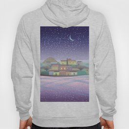Snowing Village at Night Hoody