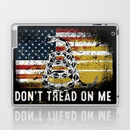 Don't Tread on Me Gadsden Military USA American Flag Rattlesnake Grunge Design Revolution Laptop & iPad Skin
