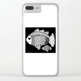 Fishies Zentangle Black and White Pen & Ink Clear iPhone Case