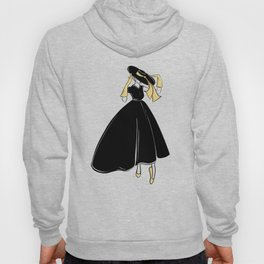 1950's Inspired Fashion Illustration Black & White with Gold Hoody