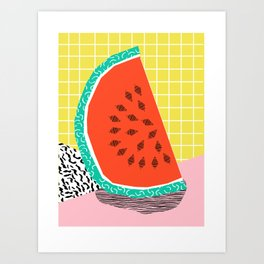 Dyno - watermelon throwback memphis 1980's retro style dots grid bright colorful modern hipster art Art Print