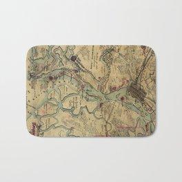Vintage Savannah Georgia Civil War Map (1864) Bath Mat