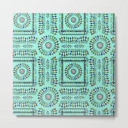 Tribal Pattern Turquoise Metal Print