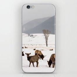 Herd of Elk in Wyoming on a Snowy Winter Day iPhone Skin