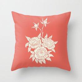 salmon pink  flourishing peonies Throw Pillow