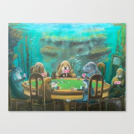 Pinnipeds Playing Poker Canvas Print