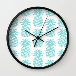 Retro Mid Century Modern Pineapple Pattern 731 Turquoise Wall Clock