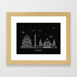 Kolkata Minimal Nightscape / Skyline Drawing Framed Art Print