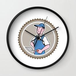 Bricklayer Mason Plasterer Rosette Cartoon Wall Clock